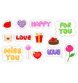 set of love sticker flat and cartoon style vector image vector image