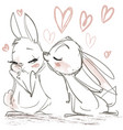 sketch with kissing cute hares vector image