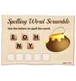 spelling word scrable game with word honey vector image vector image