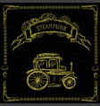 steampunk retro cars on black vector image vector image