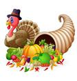 thanksgiving horn of plenty cornucopia full of veg vector image