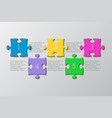 the five pieces puzzle infographic five steps vector image