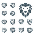 tiger and lions head face silhouette badge vector image vector image