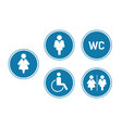 wc toilet sign icons for toilet door blue circle vector image