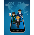World map smart phone app business people vector image vector image
