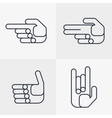 set of hand icons with gestures vector image