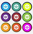 pokeball icon sign Nine multi colored round vector image