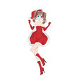 anime manga girl dressed in santa claus costume vector image vector image