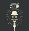 banner for karaoke club with man and microphone vector image