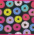 black board background glazed donuts seamless vector image vector image