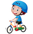 boy on bike wearing blue helmet vector image vector image