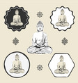 buddha statue buddhism icon flat web sign symbol vector image vector image