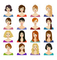 cartoon woman hairstyles icons set vector image