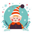 christmas character of kid elf helper of santa vector image