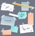 Collection of various note papers banner set vector image vector image