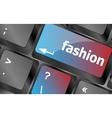 Computer keyboard key with fashion words - social vector image