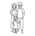 couple with child black and white vector image vector image