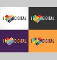 creative digital abstract colorful icons logos vector image