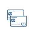 credit cards line icon concept credit cards flat vector image vector image