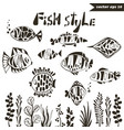 fish style set vector image