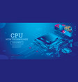 futuristic isometric cpu with neon lines on blue vector image