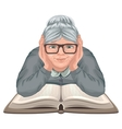 Grandmother reading book Old woman in glasses vector image vector image