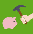 hand holding hammer prepare for crashing piggy vector image vector image