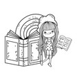happy little girl reading books with rainbow vector image vector image