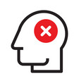 head with cancel sign vector image