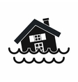 House sinking in a water icon simple style vector image vector image