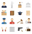 Justice flat icons set vector image