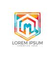 letter m shield logo design vector image vector image