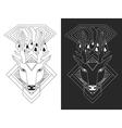linear deer head vector image