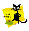 little hellcat and cat food vector image