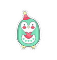 lovely funny penguin colorful cloth patch vector image vector image