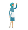 muslim cleaner with open mouth pointing finger up vector image vector image