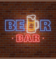neon design for bar pub and restaurant business vector image