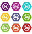 no butterfly sign icon set color hexahedron vector image vector image