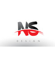 ns n s brush logo letters with red and black vector image vector image