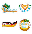 octoberfest beer logo icon set cartoon style vector image vector image