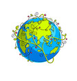 planet earth with green leaves floral ornate vector image