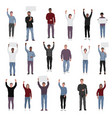 protesting people with fists raised set vector image
