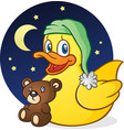 rubber duck nap time cartoon character vector image