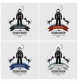 scuba diving logo design artwork of diver vector image