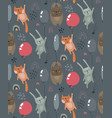 seamless pattern with wild forest animals vector image