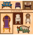 Set of seven chairs in retro and modern style vector image vector image