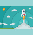space rocket launch in paper art style a4 size vector image vector image