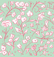 tiny spring flowers doodle drawing pattern vector image vector image