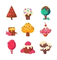 Trees Made Of Sweets Set vector image