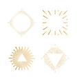 tribal boho sunburst frames gold hipster logo vector image vector image